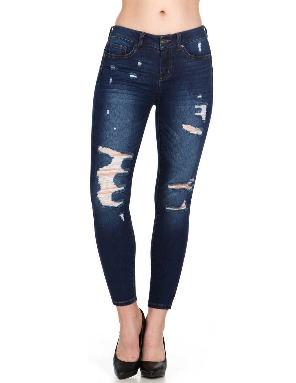 ELITE JEANS Juniors Mid Rise Push-up Distressed Skinny Jeans Women | Dark Wash (P19384)