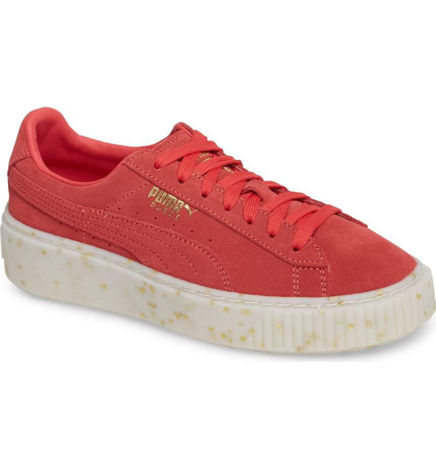 PUMA Suede Platform Celebrate Women | Paradise Pink / Team Gold (365621-04)