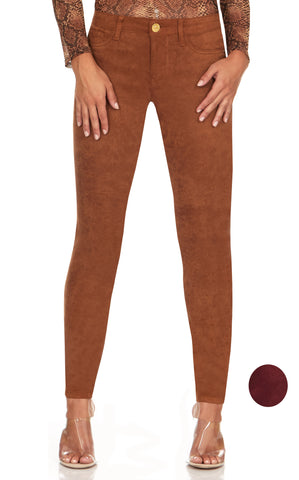 ELITE JEANS Ultra Soft Suede Skinny Pant Women | Leather Brown (P19328-05)
