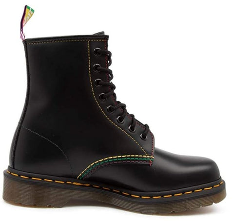DR. MARTENS 1460 Pride Smooth Leather Lace Up Boots Unisex | Black Smooth
