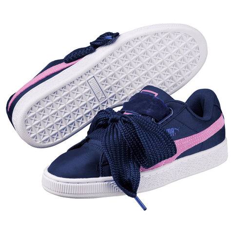 Puma Basket Heart Nylon Women's Sneaker Shoes Blue Purple 364954-01
