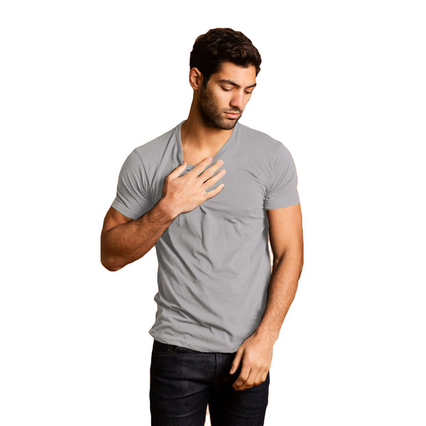 THREAD SOCIETY Premium V Neck T-Shirt Men | Light Grey