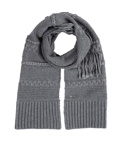 UGG Cable Knit Fringe Scarf | Steel Heather (15097)