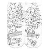 LIVING ROYAL Woodland Holiday Party Color-In Socks | White
