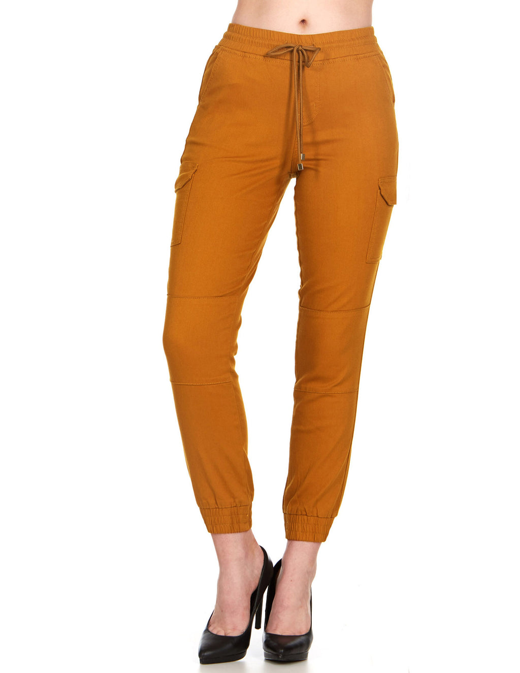 ELITE JEANS High Waisted Pull-On Cargo Joggers Women | Mustard (P19562-12)