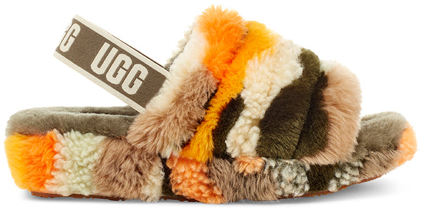 UGG Fluff Yeah Slide Cali Collage Women | Olive (1118164)
