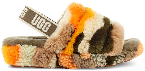 UGG Fluff Yeah Slide Cali Collage Women | Olive (1118164-OLV)