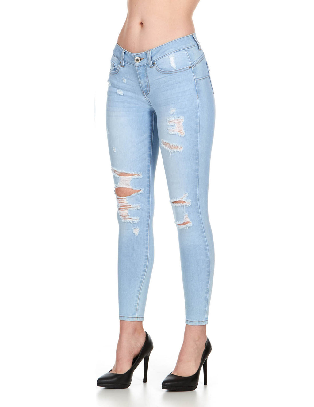 ELITE JEANS Juniors Mid Rise Push-up Distressed Skinny Jeans Women | Light Wash (P19382)