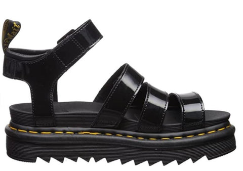 DR.MARTENS Blaire Women's Patent Leather Gladiator Sandals  Women | Black Patent Lamper