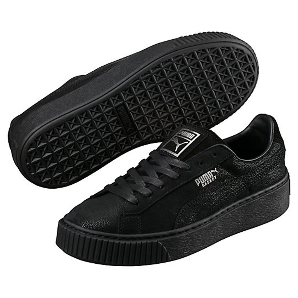 Puma Basket Platform Reset Women's Sneaker Shoes Black 363313-04