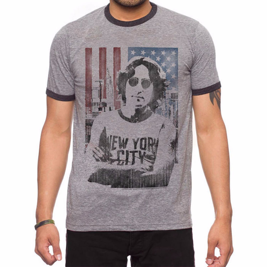 JACK OF ALL TRADES John Lennon Us Flag Ringer T-Shirt Men | Grey Heather / Onyx Heather (LN0005-T1084)