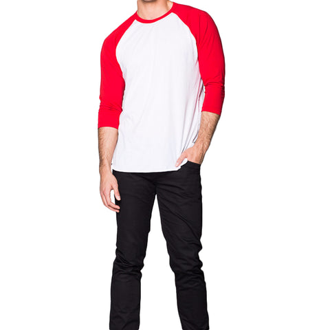 THREAD SOCIETY Long Sleeve Baseball Tee Men | Red