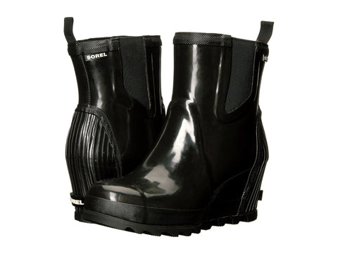 SOREL Joan Rain Wedge Chelsea Gloss Boot Women | Black / Sea Salt