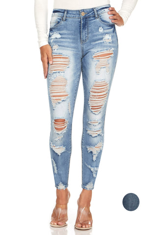 ELITE JEANS High Waisted Destructed Skinny Jeans Women | Light Wash (P19084)