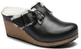 BIRKENSTOCK Fanny Big Buckle Leather Narrow Women | Black Shearling Eggshell (1017700)