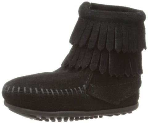 MINNETONKA Double Fringe Side Zip Kids/Toddler | Black (2299)