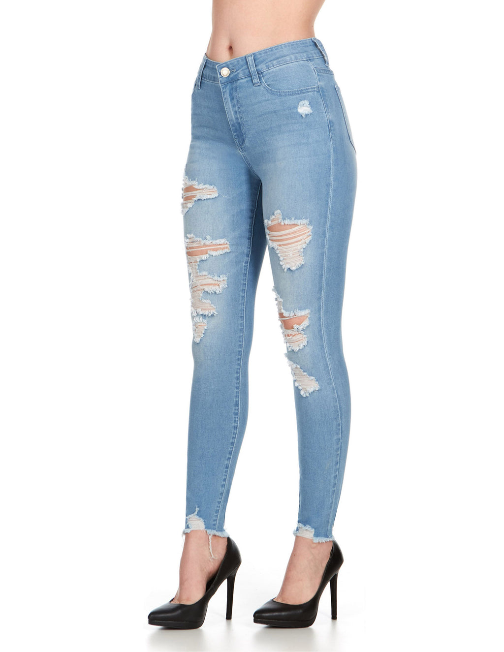 ELITE JEANS High Waisted Distressed Skinny Jeans Women | Light Wash (P19440)