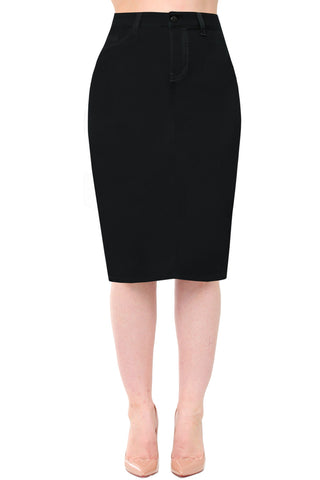 Business Casual - Denim Detailed Midi Pencil Skirt - Black