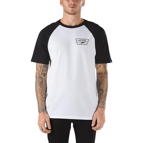 VANS Full Patch S/S Raglan Men | White/Black (YQ8YB2)