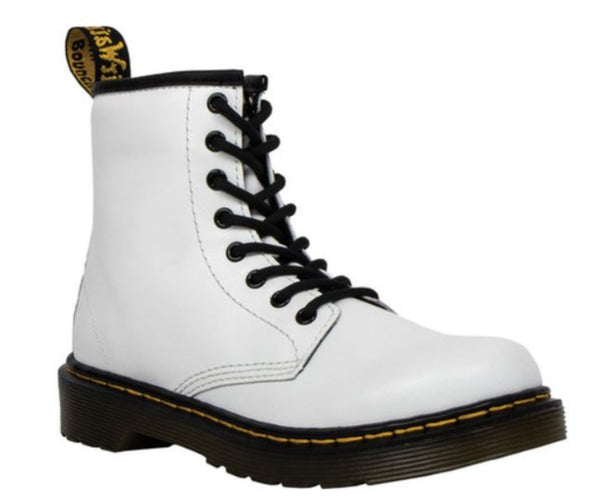 DR. MARTENS Junior 1460 Leather Lace Up Boots Kids | White