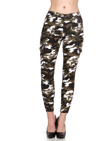 ELITE JEANS Cargo Pocket Skinny Ankle Women | Army Shadow Camo Combo (P19614-13)