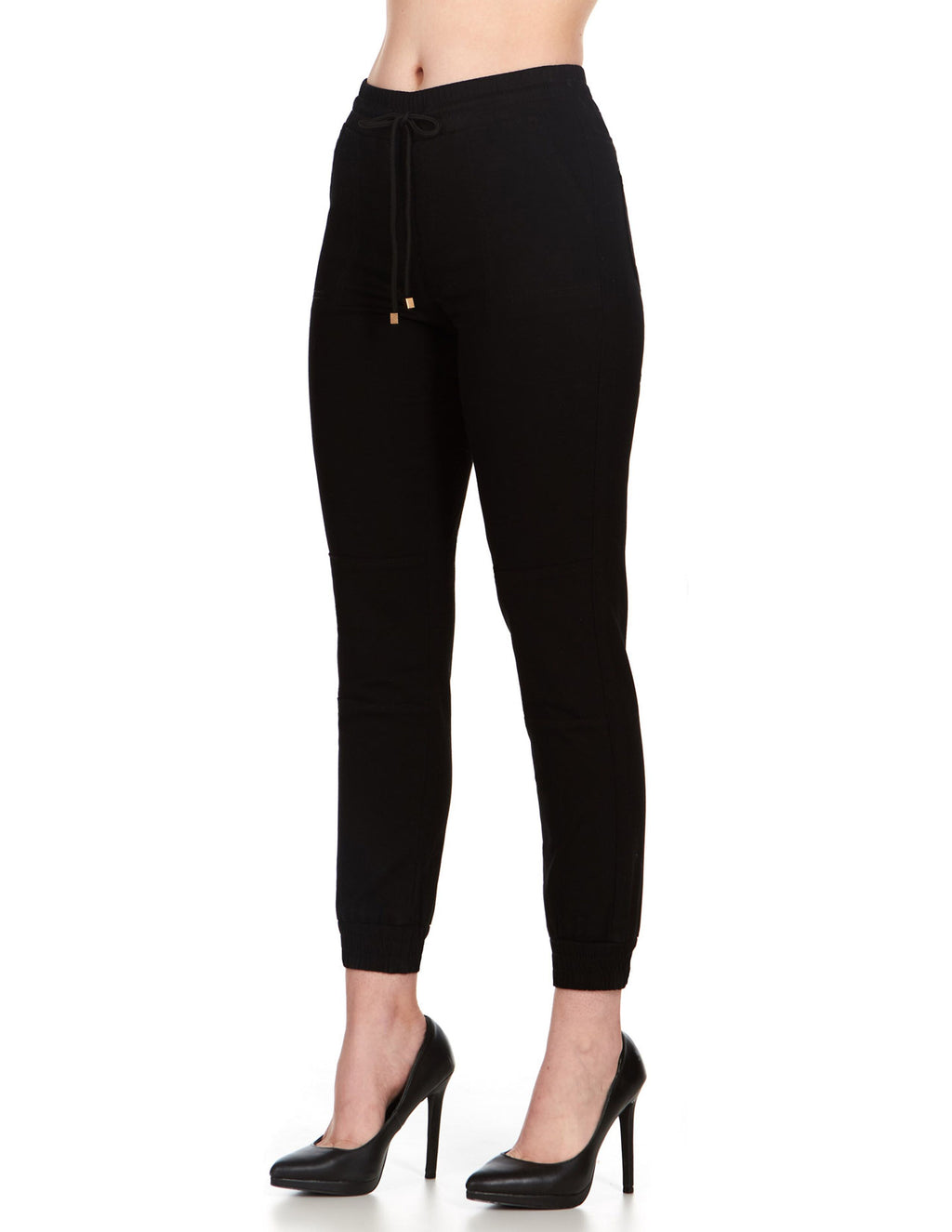ELITE JEANS High Waisted Pull-On Jogger Women | Black/Neon Pink (P19636-01)
