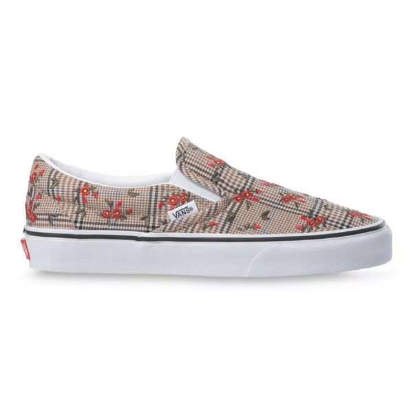 VANS Glen Plaid Floral Classic Slip On Unisex | Embroidery/True White (VN0A4U382NV)