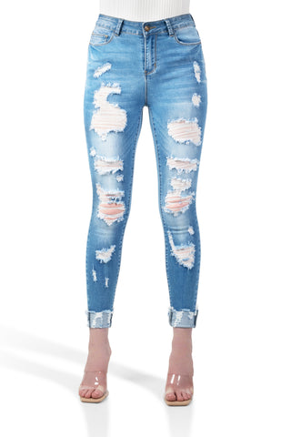 ELITE JEANS High Rise Destructed Cuffed Ankle Juniors | Medium Wash (P21346)