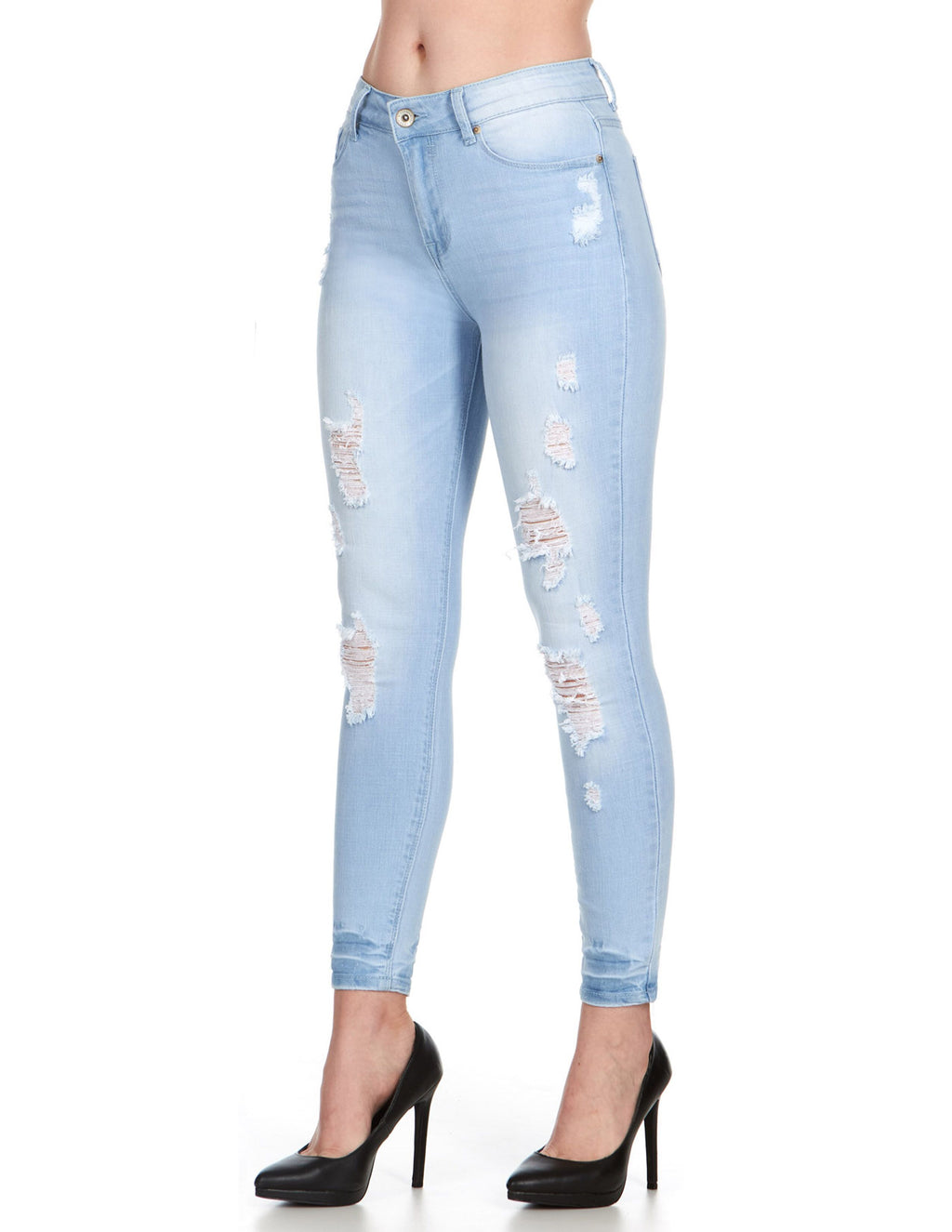 ELITE JEANS Juniors High Rise Push-up Distressed Skinny Jeans Women | Light Wash (P19198)