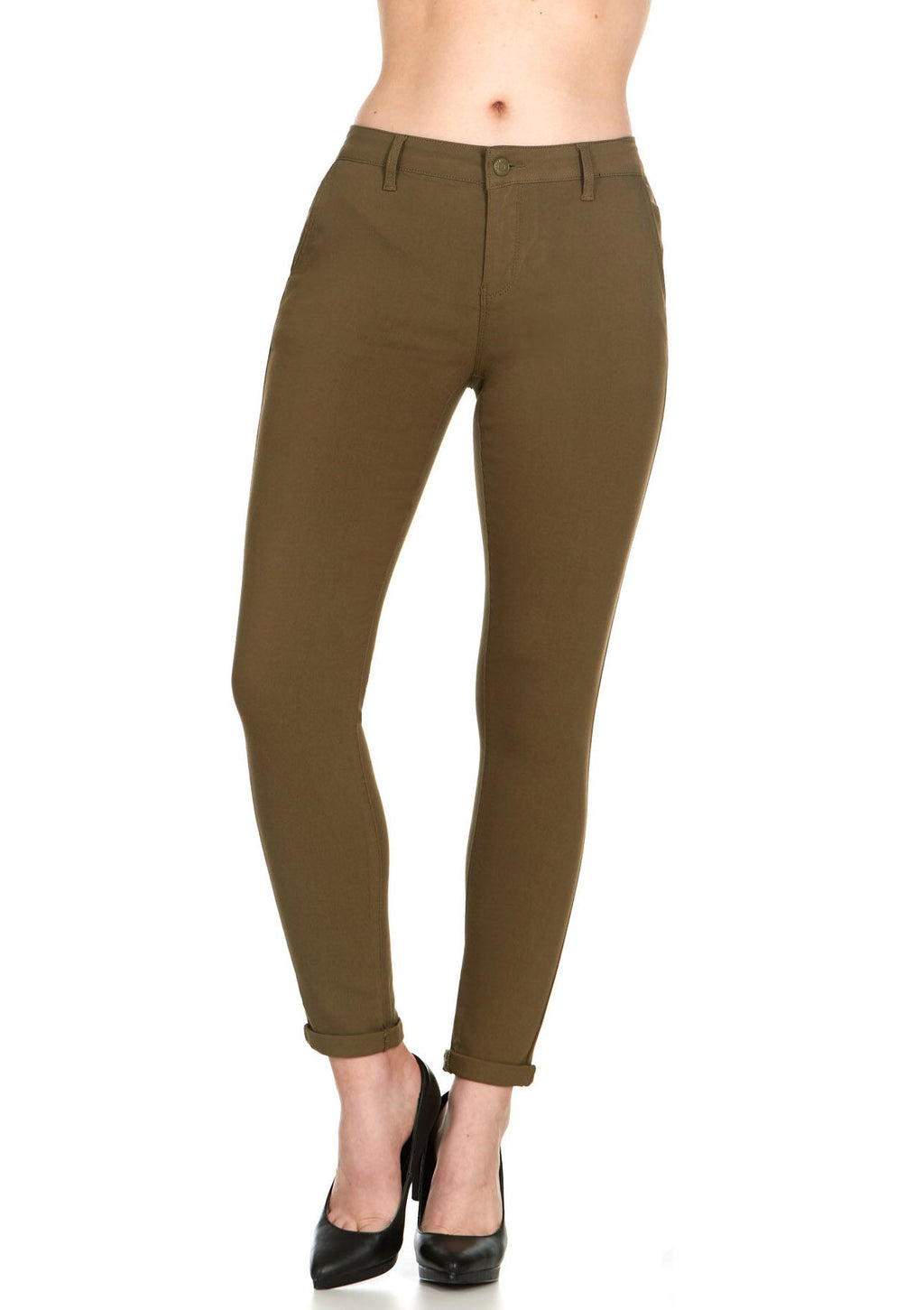 ELITE JEANS Mid Rise Active Stretch Skinny Jeans Women | Olive (P19006-06)