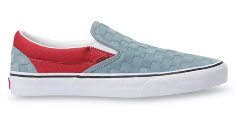 VANS Classic Checkerboard Slip-on Deboss Men | Lead/Pompiean Red (VN0A4U38WS6)