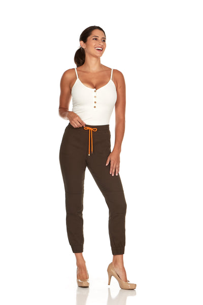 ELITE JEANS High Waisted Pull-On Jogger Women | Olive (P19636-06)