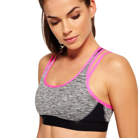SUPERDRY Gym Duo Strap Bra Women | Charcoal Grit (2103027000088)