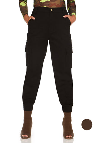 ELITE JEANS High Rise Loose Cargo Joggers Women | Black (P20048-01)