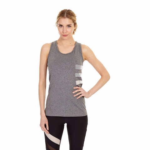 X BY GOTTEX Side Diamond Mesh Insert Tank Top Women | Heather Grey