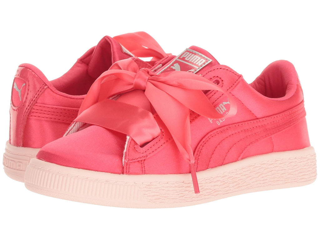 Puma Basket Heart Tween Kids Sneaker Shoes Paradise Pink 365142-01