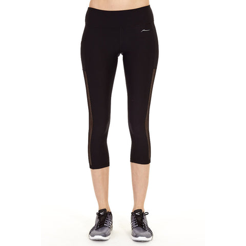 X BY GOTTEX Diamond Mesh Inset Capri Women | Black/Black
