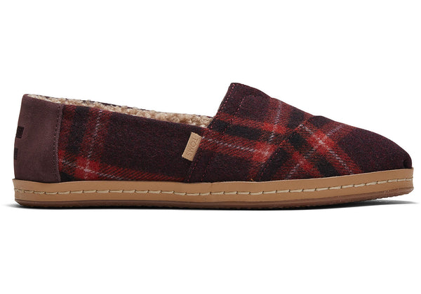 TOMS Red Plain Leather Alpargata Women | Barn Red (10015695)