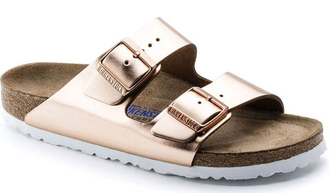 BIRKENSTOCK Arizona Soft Foot Bed W/White Leather Women | Copper (0952093)