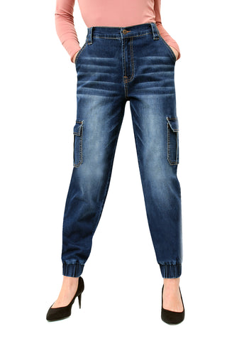 ELITE JEANS Denim Cargo Jogger Women | Dark Wash (P20156)