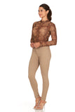 ELITE JEANS Mid Rise Active Stretch Push Up Skinny Jeans Women | Khaki (AP18308-03)