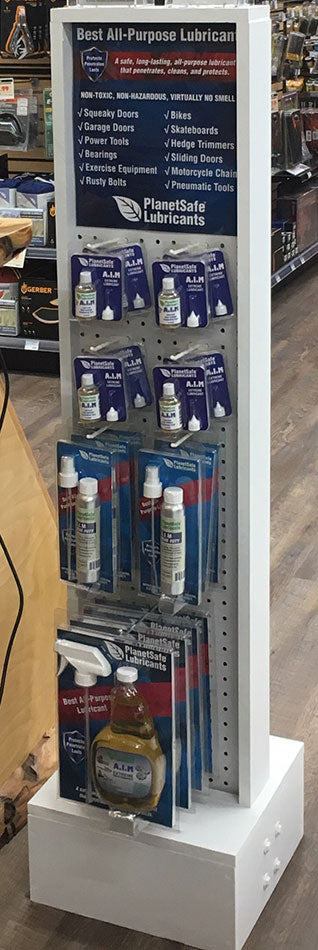 PlanetSafe Lubricants Product Display Stand for Retailers