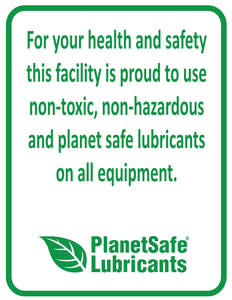PlanetSafe Lubricants Laminated Poster - Environmentally friendly green poster