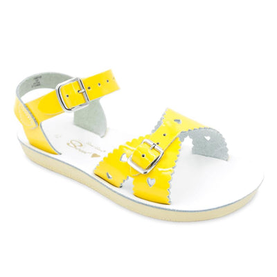 Salt Water- Kid's Sweetheart Shiny Yellow Sandals