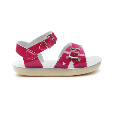 Salt Water- Kid's Sweetheart Shiny Fuchsia Sandals