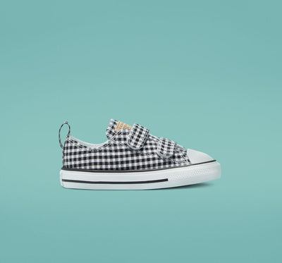 Converse- kids Chuck Taylor All Star 2V Low Top Gingham Easy-On White/Black 770652