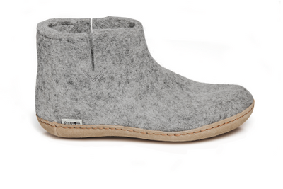 Glerups - Slipper Boot Leather Sole Grey