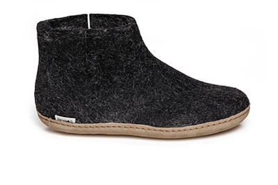 Glerups - Slipper Boot Leather Sole Charcoal