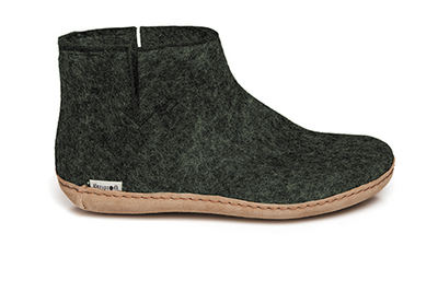 Glerups - Slipper Boot Leather Sole Forest