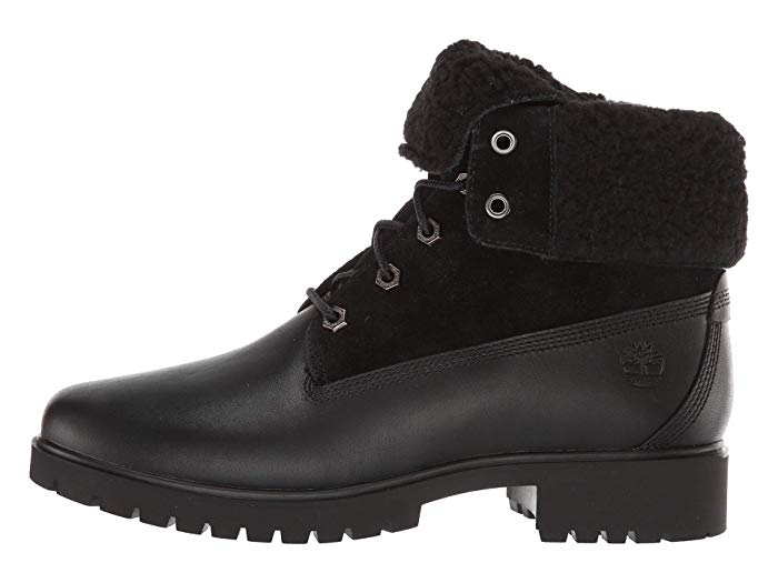 Timberland - Women's Jayne Waterproof Teddy Fold Down Boots in Black